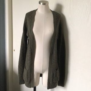 Olive knit cardigan with pockets